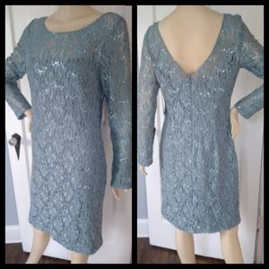 NWT JS Collection Midi Blue Green Formal Dress 12